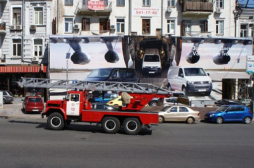 Ukraine, Kiev, Kyiv, Fire Truck, Fire Engine