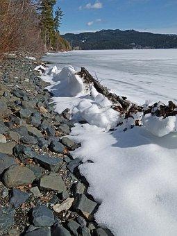 Canim Lake, Frozen, Ice, Snow, Melting, Shoreline