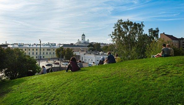 Helsinki, View, Grass, People, Landscape