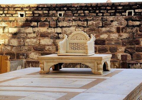 India, Rajastan, Jaisalmer, Palace, Throne, Maharajah