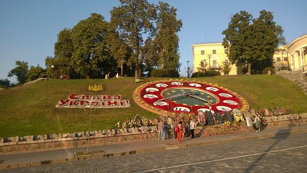 Kiev, Maidan, Flowers, Clock, Monument