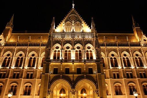 Night, Lights, City, Parliament, Budapest, Architecture