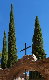 Cemetery, Cypress, Transcendence, Cross, Religious