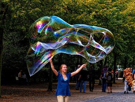 Soap Bubble, Giant Bubble, Woman Making Soap Bubbles