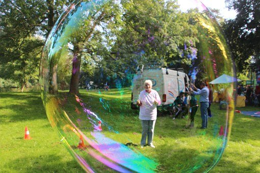 Soap Bubbles, Large, Human, Colorful, Huge, Soapy Water