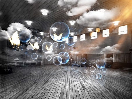 Sports Hall, Soap Bubbles, Surreal, Clouds, Heavenly