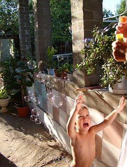 Boy, Soap Bubbles, Sun, Crying, Emotion, Tears, Hands