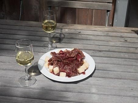 Jause, Vespers, Switzerland, Valais, White Wine