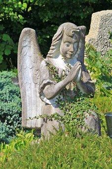 Angel, Pray, Cemetery, Sculpture, Figure, Statue