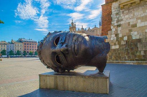 Krakow, Poland, Europe, Sculpture, Head, Bronze