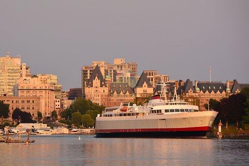 Victoria Bc, Inner Harbor, Ferry, Coho, Canada, British