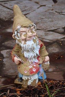 Garden Gnome, Dwarf, Broken, Garden Figurines, Fig