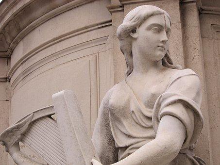 Queen Anne, Statue, Face, Stone, Harp, Terpsichore