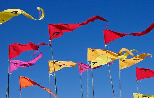 Flags, Pennants, Red, Yellow, Blue, Sky, Flutter