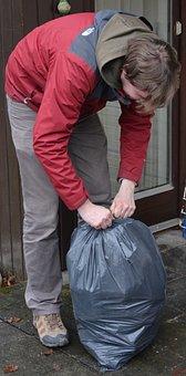 Man, Garbage Bag, Garbage, People