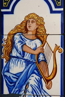 Muse, Music, Harp, Tile, Instrument