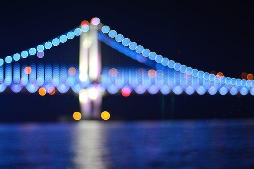 Bokeh, Light, Gwangalli, Gwangan Bridge, Bridge