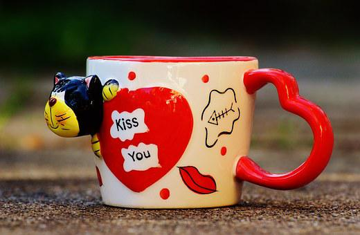 Coffee Cup, Funny, Cat, Heart, Love, Kiss, Teacup, Cup