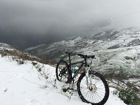Snow, Bike, Winter, Landscape, Mountain, Clouds, Sicily