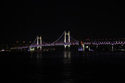 Gwangan Bridge, Night View, Sea, Bridge, Gwangalli