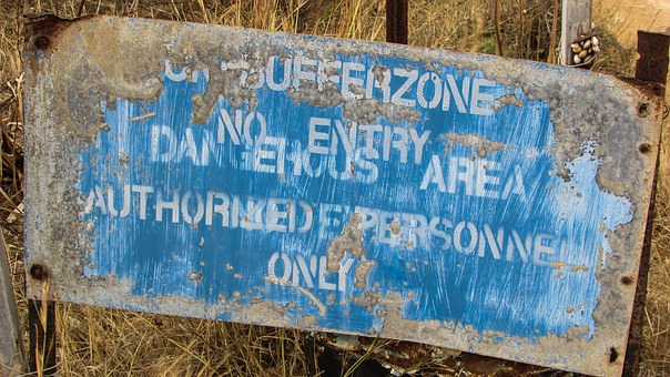 Cyprus, Famagusta, Buffer Zone, Warning, Sign, Old