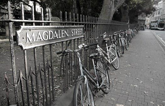 Oxford, England, Bicycles, Black And White, British