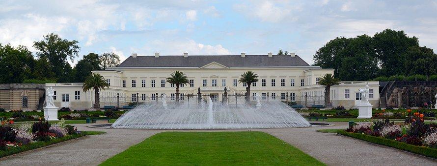 Castle, Panorama, Fountain, Herrenhäuser Gardens