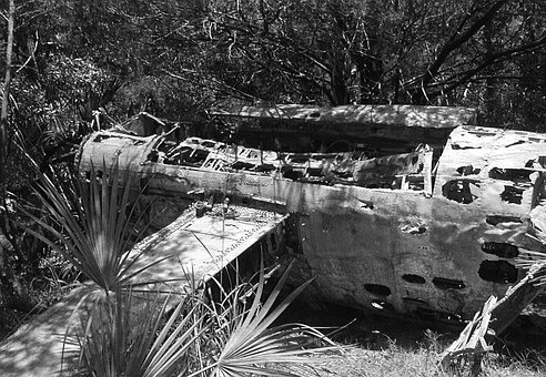 Plane, Jet, Woods, Bomber, Old, River, Water, 1943