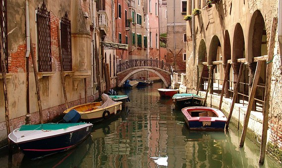 Italy, Venice, Secondary Channel, Boats, Anchorage