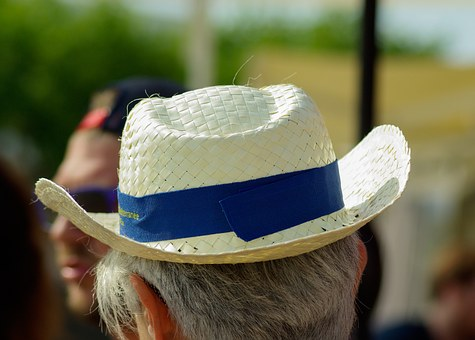 Senior, Straw Hat, Gray Hair