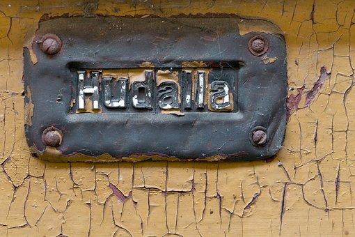 Front Door, Old, Wood, Shield, Front Door Sign