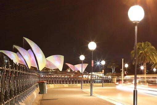 Sydney, Circular Quay, Opera House, Architecture, Night