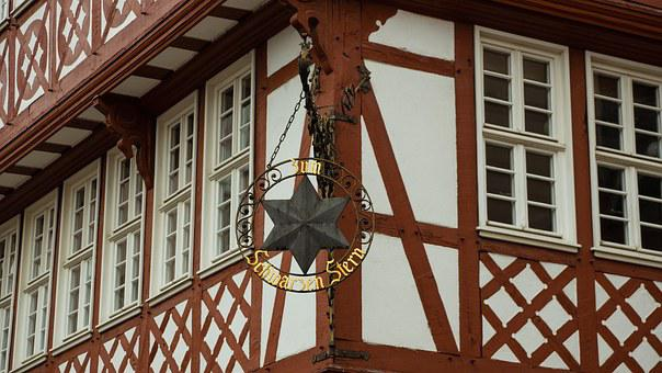 Inn, Sign, Old, Star, Black, Half-timbered, Vintage