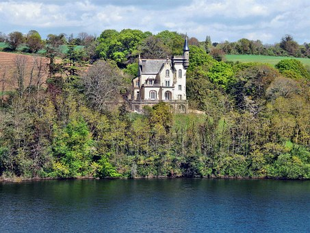 Manor, River, Brittany, Tree, Landscape, Water Courses