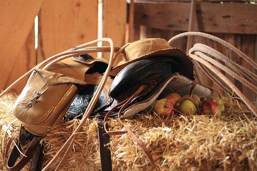 Western, Saddle, Panniers, Lasso, Hay, Straw, Cowboy