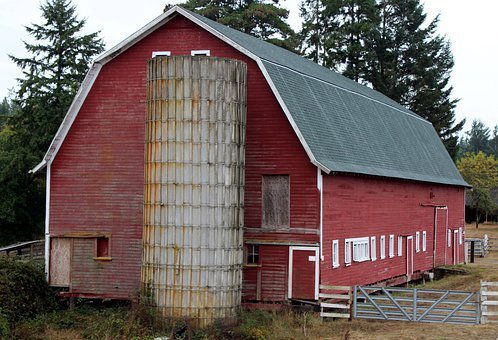 Barn, Red, Silo, Farm, Old, Country, Rural, Wooden