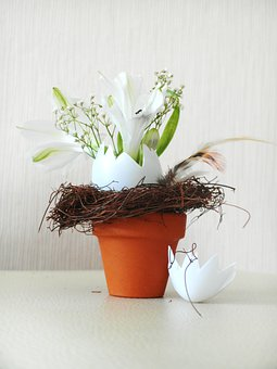 Easter, Flowerpot, Floral Arrangement, Easter Eggs, Art