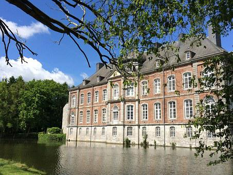 Belgium, Wallonie, Moated Castle, Near Modave