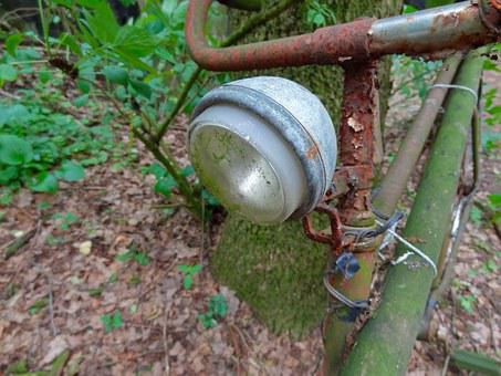 Bike, Forest, Old, Rust, Ancient, Bicycle Lamp, Lamp