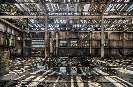 Shed, Deteriorated, Empty, Boards, Wet, Broken, Roof