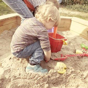 Sand Pit, Children, Play, Out, Together, Build, Bucket