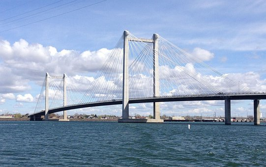 Bridge, Suspension, Cable, River, Water, Connect