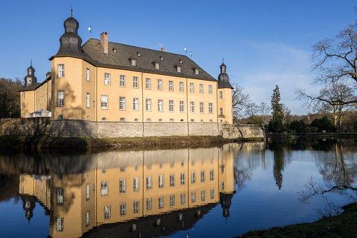 Castle, Schloss Dyck, Moat, Mirroring, Baroque