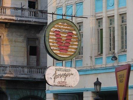 Hotel, Havana, Cuba, Sign, Retro, Typography, Vintage