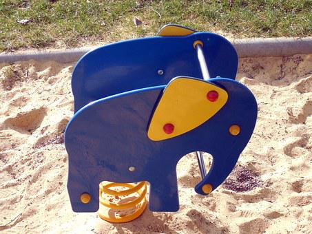 Playground, Game Device, Play, Elephant, Balance, Sand