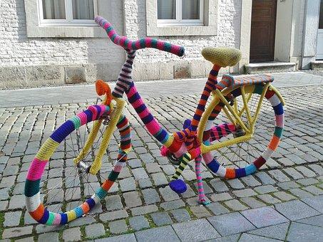 Bike, Mature, Close, Lady's Bike, Embroidered, Wool