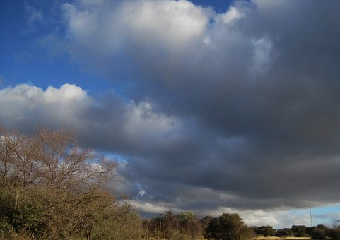 Clouds, Low, Large, Dark, Brush, Sky, Blue