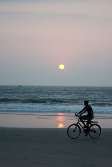 Beach, Moonlight, Seascape, Man, Alone, Sunset