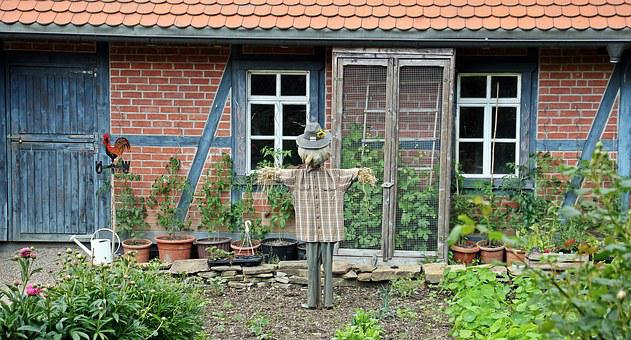 Farm, Scarecrow, Goal, Wooden Gate, Old, Wood, Input