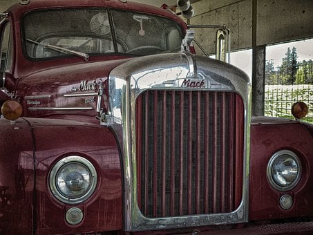 Old, Logging Truck, Red, Transportation, Vehicle, Truck